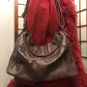 The SAK chocolate brown leather shoulder bag